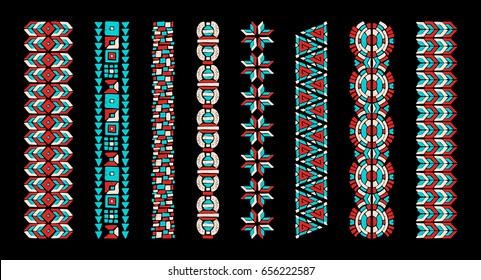 African ethnic print. The Aztec pattern. Oriental lace tape. Indian jewel. Embroidery on fabric. Asian ornament. Tribal art. Japanese, Oriental pattern. The decoration of clothes. Ribbon, border.