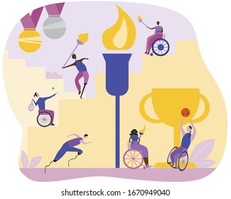 African and European Athletes in wheelchairs and with artificial limbs light the flame. Flat vector stock illustration with cub and medals as a concept of international competitions or games.
