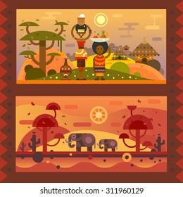 African everyday. A woman with a bowl on head, boy with fruit in a plate. National houses, native animals. Vector flat illustration