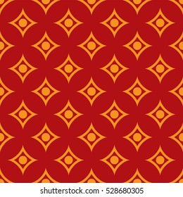 African fabric pattern orange and red