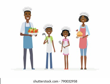 African family cooking - cartoon people characters isolated illustration on white background. Young smiling parents with children standing, wearing chefs outfit and hats, holding dishes and cutlery
