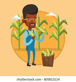 African farmer holding a corn cob on the background of corn field. Farmer collecting corn. Farmer standing near basket with corn. Vector flat design illustration in the circle isolated on background.