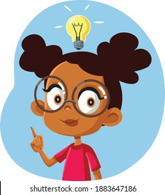 African Female Student Having a Clever Idea. Bright school child thinking innovative coming up with a solution