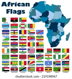 African flag set in alphabetical order, with an editable map.