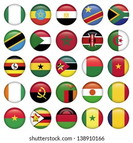 African Flags Round Icons