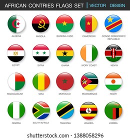 African flags  set and members in botton stlye,vector design element illustration
