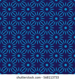 African flower pattern blue