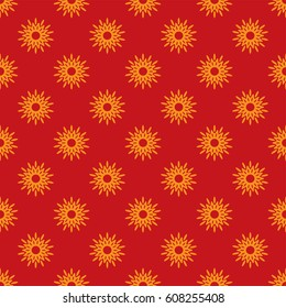 African flower pattern red and orange