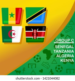 African football 2019 Group C. Senegal, Tanzania, Algeria, and Kenya flag set. Egypt pattern with modern and traditional elements, Vector illustration.