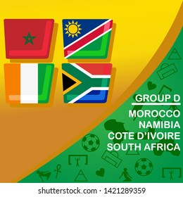 African football 2019 Group D. Morocco, Namibia, Cote d'Ivoire and South Africa  flag set. Egypt pattern with modern and traditional elements, Vector illustration