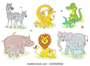 African funny animals - giraffe, zebra, crocodile, lion, elephant, hippo with their cute children. In cartoon style. Isolated on a white background. Vector illustration.