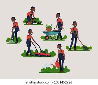 African gardening specialist working on different tasks using gardening equipment and tools. Horticulture related character vector illustration in trendy flat style
