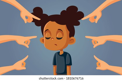 African Girl Facing Discrimination and Bullying. Upset young schoolgirl facing public racism and prejudice