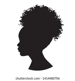 African girl kid head silhouette. Vector illustration of a young African girl portrait shadow isolated on white background.