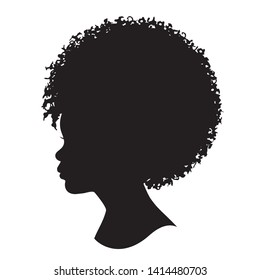 African girl kid portrait silhouette. Vector illustration of a young African girl head shadow isolated with Afro hair on white background.
