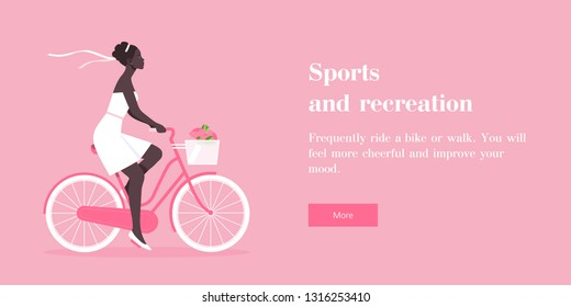 The African girl is riding a bicycle. Bride. Rest and vacation. Wedding. Horizontal banner with text. Vector flat illustration