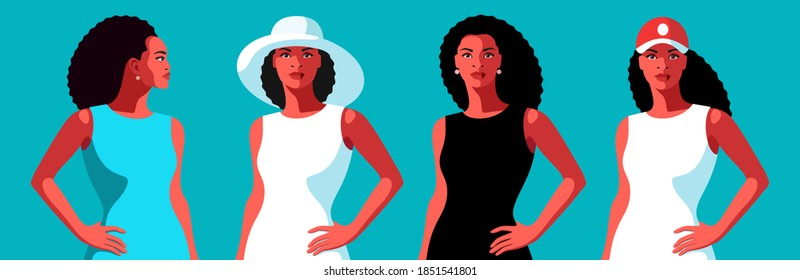 African girls with long curly hair, in white, green and black dresses, in hat, baseball cap and without hat, front and side view faces. Vector illustration
