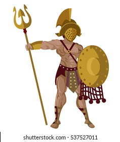 african gladiator with shield and trident and web