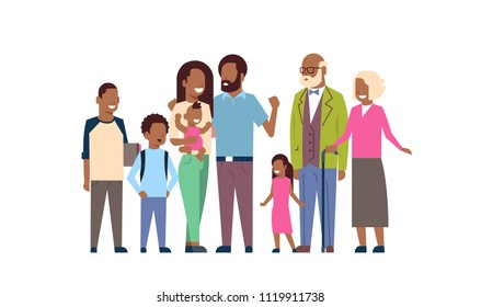 african grandparents parents children grandchildren, multi generation family, full length avatar on white background, happy family together concept, tree of genus flat cartoon vector illustration