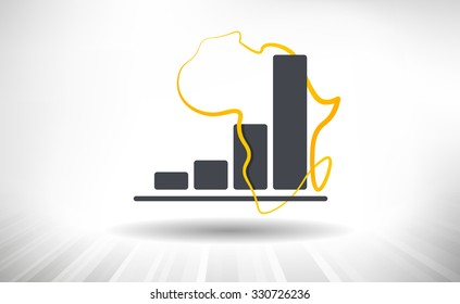 African Growth. Concept of growing graph with drawn contour of Africa