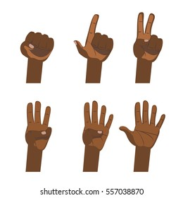 African hand count. Flat finger and number white background isolated.