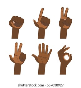African hand sign set. Flat finger symbol white background isolated