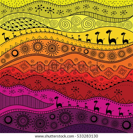 African Handdrawn Ethno Pattern Tribal Background Image Vectorielle