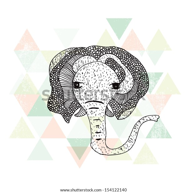 African hipster doodle style elephant postcard cover design in geometric background