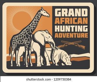 African hunting club or Safari hunt adventure. Vector Africa wild animals giraffe, elephant and hippopotamus in savanna with hunter crossed rifle gun. Open season trophy theme