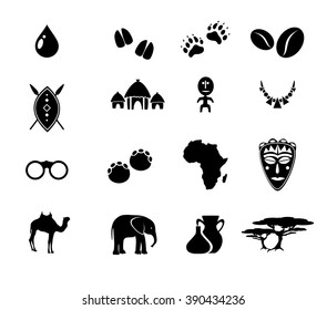 African icon set vector