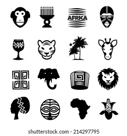 African icons pictograms set. EPS 10 vector.