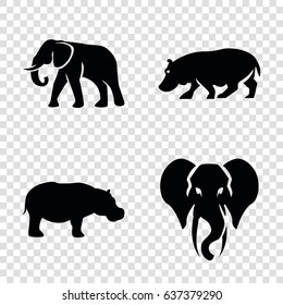 African icons set. set of 4 african filled icons such as elephant