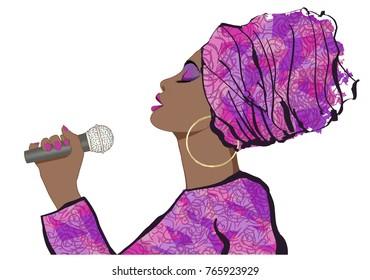African Jazz singer - vector illustration