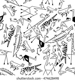 African and jungle cartoon animals seamless background. Safari wallpaper with vector thin line pattern icons of tiger, giraffe, monkey, camel, flamingo, ostrich, crocodile, alligator