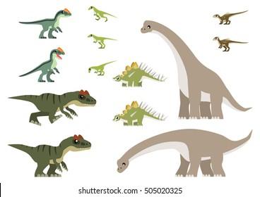 African Jurassic dinosaurs vector containing Allosaurus, Kentrosaurus, Heterodontosaurus, Lesothosaurus, Giraffatitan, and Dracovenator illustration.
