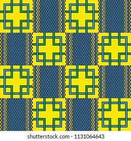 African kente print. Geometrical checkered design. Colorful seamless pattern.
