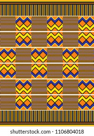 African kente print, traditional fabric  from Ghana. Ethnic seamless pattern.