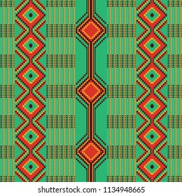 African kente print, traditional fabric  from Ghana, Ankara cloth. Seamless geometric pattern.