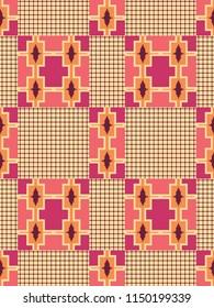 African kente print, traditional fabric from Ghana. Tribal geometric seamless pattern.