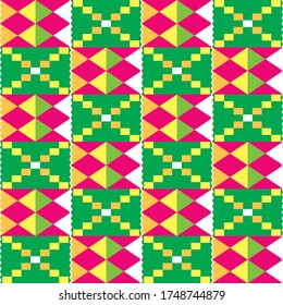 African Kente tribal geometric seamless pattern, traditional nwentoma cloth style vector textile design in pink and green. Abstract repetitive design, Kente mud cloth style native to the Akan group