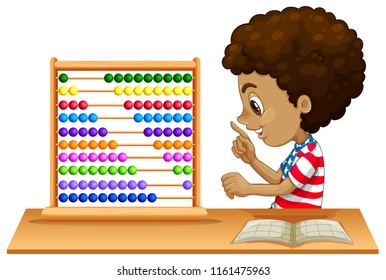 An african kid learning abacus illustration