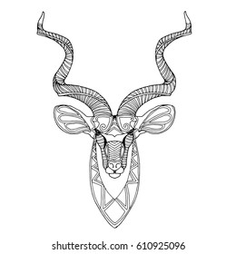 African kudu antelope, unusual animal zentangle vector design, page for  adult colouring book