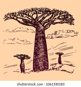 African landscape with baobabs, hand drawn doodle, sketch in pop art style, vector outline illustration? on soft pink background