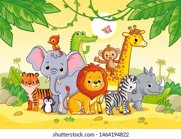 African landscape with cute african animals. Large set of animals. Vector illustration with cute mammals.