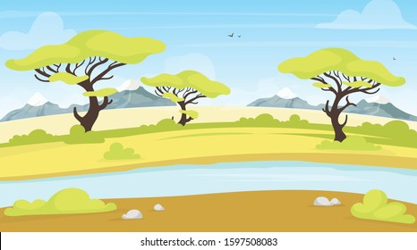 African landscape flat vector illustration. Safari with water stream. Green savanna scene with flowing river. Meadow green land. Exortic scenery, tropical grassland. Madagascar cartoon background