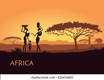 African landscape with local women and children