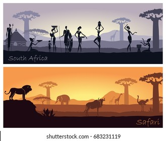 African landscape with people and animals