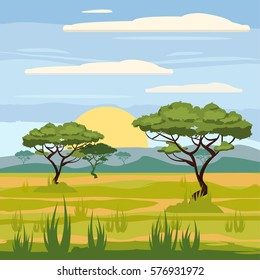 African landscape, savannah, nature, trees, wilderness, cartoon style, vector illustration