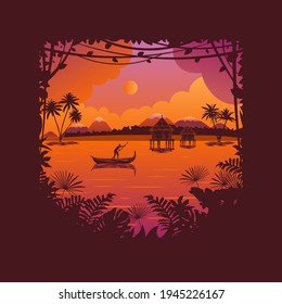 African landscape at sunset and dawn background. Silhouettes of tropical trees and leaves. Color vector illustration in flat style.