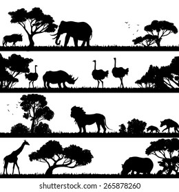 African landscape with trees and wild animals black silhouettes vector illustration